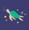 cute sea turtle swimming in water among starfishes vector image