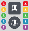 cylinder hat icon sign A set of 12 colored buttons vector image vector image