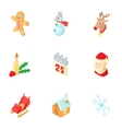 December holiday icons set cartoon style vector image vector image