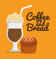 delicious cupcake and coffee label vector image vector image