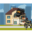 firefighters extinguish a burning house vector image