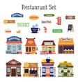 flat cartoon restaurant building exterior and vector image vector image