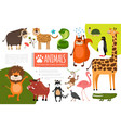 flat zoo animals composition vector image vector image