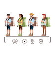 group of tourists and set icons vector image vector image