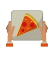 hand boy delivery box pizza vector image