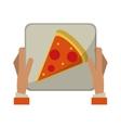 hand boy delivery box pizza vector image vector image
