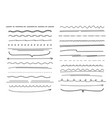 hand drawn lines set elements curved drawn pencil vector image