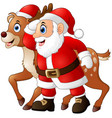 happy cartoon santa and reindeer vector image vector image