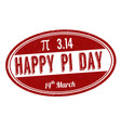happy pi day sign or stamp vector image