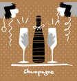 holiday greeting postcard with champagne glasses vector image vector image