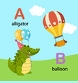 isolated alphabet letter a-alligator b-balloon vector image