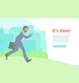 late businessman hurrying looking watches vector image