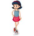 little girl standing on white background vector image vector image