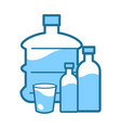 mineral clean water in gallon and bottle or cup vector image