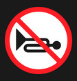 No horn prohibited sign flat icon