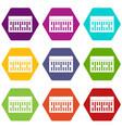 one building brick icon set color hexahedron vector image vector image