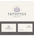Photo studio logo in retro hipster style and vector image vector image