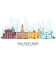 phyladelphia skyline and famous attractions vector image vector image