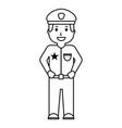 portrait policeman smiling uniform and cap vector image vector image