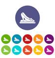 princess shoes icons set color vector image