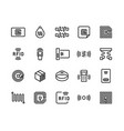 radio tag line icons wireless rfid chip and radio vector image vector image