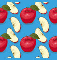 seamless pattern ripe red apples whole and slices vector image