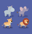 set animal caricature of african safari in color vector image