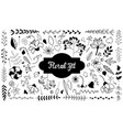 set of isolated doodle flowers hand drawn vintage vector image