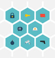 set of safety icons flat style symbols with lock vector image