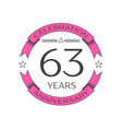 sixty three years anniversary celebration logo vector image vector image