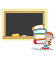 Student With Books In Front Of School Chalk Board vector image