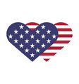 usa flag hearts shape vector image vector image