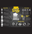 vintage chalk drawing beer menu design vector image vector image