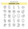 wedding love line icon set - 25 dashed outline vector image