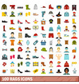 100 rags icons set flat style