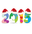 2015 made from alphabet puzzle with christmas hats vector image