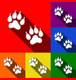 animal tracks sign set of icons with flat vector image