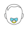 baface with pacifier color icon vector image