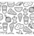 black and white seamless with food vector image vector image