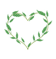 Branch of Green Vine Leaves in Heart Shape vector image vector image