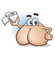 butt cartoon character holding toilet paper vector image