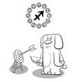 cartoon dog as sagittarius sign vector image vector image