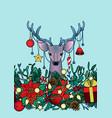 christmas deer outline seamless border vector image vector image