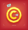 copyright sign golden jewel typeface element vector image