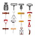 corkscrew icon set wine cork screw open vector image