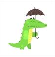 Crocodile Walking Under Rain With Umbrella vector image vector image