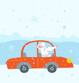 cute rat traveling car vector image vector image