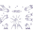doodle applause happy people hands high five vector image vector image