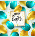 easter golden green egg with calligraphic vector image vector image