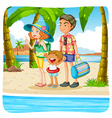 Family taking vacation on the beach vector image